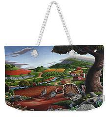 Wild Turkeys Appalachian Thanksgiving Landscape - Childhood Memories - Country Life - Americana Weekender Tote Bag by Walt Curlee