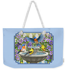 Fountain Festivities - Birds And Birdbath Painting Weekender Tote Bag by Crista Forest