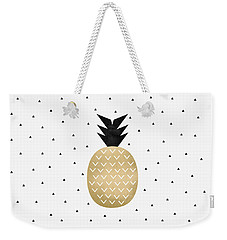 Golden Pineapple Weekender Tote Bag by Elisabeth Fredriksson