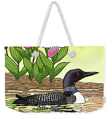Minnesota State Bird Loon And Flower Ladyslipper Weekender Tote Bag by Crista Forest
