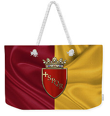 Coat Of Arms Of Rome Over Flag Of Rome Weekender Tote Bag by Serge Averbukh