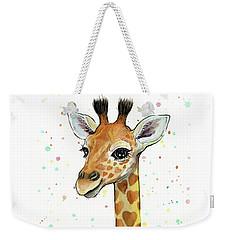 Baby Giraffe Watercolor With Heart Shaped Spots Weekender Tote Bag by Olga Shvartsur