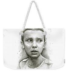 Stranger Things Eleven Upside Down Art Portrait Weekender Tote Bag by Olga Shvartsur
