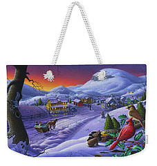 Christmas Sleigh Ride Winter Landscape Oil Painting - Cardinals Country Farm - Small Town Folk Art Weekender Tote Bag by Walt Curlee