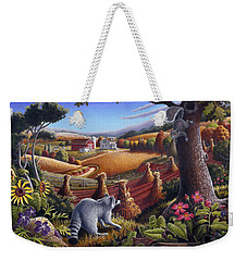 Rural Country Farm Life Landscape Folk Art Raccoon Squirrel Rustic Americana Scene  Weekender Tote Bag by Walt Curlee