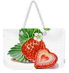 Artz Vitamins A Strawberry Heart Weekender Tote Bag by Irina Sztukowski