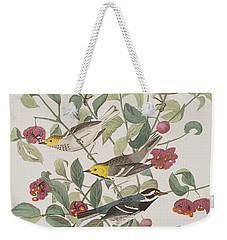 Audubons Warbler Hermit Warbler Black-throated Gray Warbler Weekender Tote Bag by John James Audubon