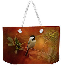 Autumn Day Chickadee Bird Art Weekender Tote Bag by Jai Johnson