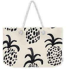 B And W Pineapple Print Weekender Tote Bag by Anne Seay