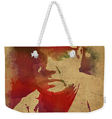 Babe Ruth Baseball Player New York Yankees Vintage Watercolor Portrait On Worn Canvas Weekender Tote Bag by Design Turnpike
