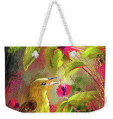 Baltimore Oriole Art- Baltimore Female Oriole Art Weekender Tote Bag by Lourry Legarde