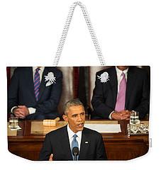 Barack Obama 2015 Sotu Address Weekender Tote Bag by Science Source