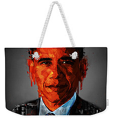 Barack Obama Acrylic Portrait Weekender Tote Bag by Georgeta Blanaru