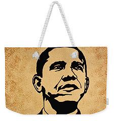 Barack Obama Original Coffee Painting Weekender Tote Bag by Georgeta  Blanaru