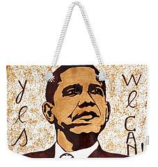 Barack Obama Words Of Wisdom Coffee Painting Weekender Tote Bag by Georgeta  Blanaru