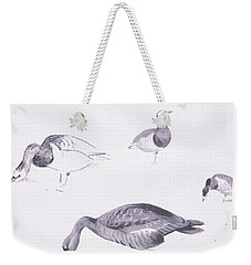 Barnacle And White Fronted Geese Weekender Tote Bag by Archibald Thorburn
