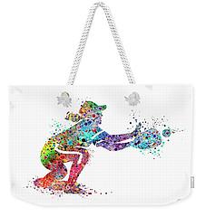 Baseball Softball Catcher 2 Sports Art Print Weekender Tote Bag by Svetla Tancheva