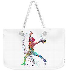 Baseball Softball Pitcher Watercolor Print Weekender Tote Bag by Svetla Tancheva