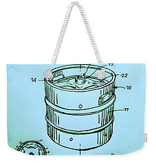 Beer Keg 1994 Patent - Blue Weekender Tote Bag by Scott D Van Osdol