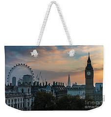 Big Ben Shard And London Eye Sunrise Weekender Tote Bag by Mike Reid