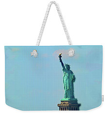 Big Statue, Little Boat Weekender Tote Bag by Sandy Taylor