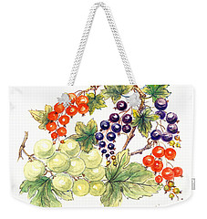 Black And Red Currants With Green Grapes Weekender Tote Bag by Nell Hill