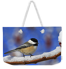 Black-capped Chickadee In Sumac Weekender Tote Bag by Tony Beck