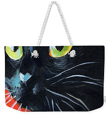 Black Cat Painting Portrait Weekender Tote Bag by Svetlana Novikova