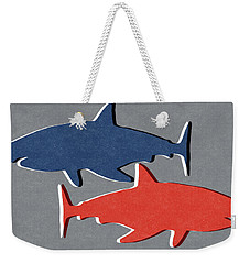 Blue And Red Sharks Weekender Tote Bag by Linda Woods