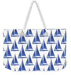 Blue And White Sailboats Pattern- Art By Linda Woods Weekender Tote Bag by Linda Woods