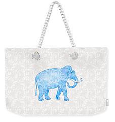 Blue Damask Elephant Weekender Tote Bag by Antique Images