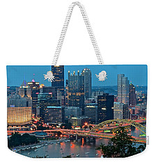 Blue Hour In Pittsburgh Weekender Tote Bag by Frozen in Time Fine Art Photography