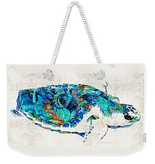 Blue Sea Turtle By Sharon Cummings  Weekender Tote Bag by Sharon Cummings
