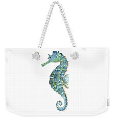 Blue Seahorse Weekender Tote Bag by Amy Kirkpatrick