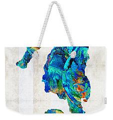 Blue Seahorse Art By Sharon Cummings Weekender Tote Bag by Sharon Cummings