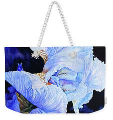 Blue Summer Iris Weekender Tote Bag by Hanne Lore Koehler
