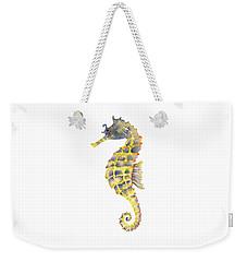 Blue Yellow Seahorse - Square Weekender Tote Bag by Amy Kirkpatrick