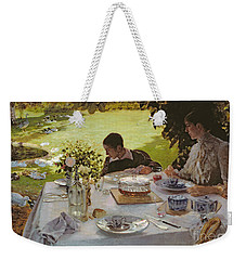 Breakfast In The Garden, 1883 Weekender Tote Bag by Giuseppe Nittis