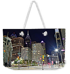 Bright Lights In Philly Weekender Tote Bag by Frozen in Time Fine Art Photography