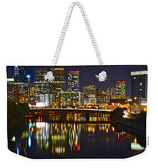 Bright Philly Night Weekender Tote Bag by Frozen in Time Fine Art Photography