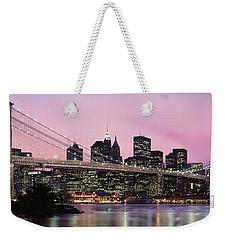Brooklyn Bridge Across The East River Weekender Tote Bag by Panoramic Images