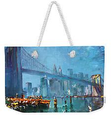 Brooklyn Bridge Weekender Tote Bag by Ylli Haruni