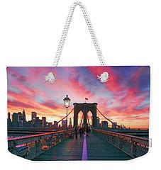 Brooklyn Sunset Weekender Tote Bag by Rick Berk
