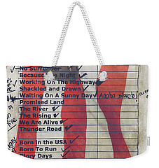 Bruce Springsteen Setlist At Rock In Rio Lisboa 2012 Weekender Tote Bag by Marco Oliveira