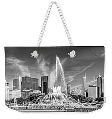 Buckingham Fountain Skyline Panorama Black And White Weekender Tote Bag by Christopher Arndt
