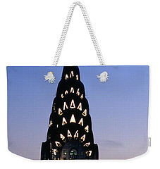 Building Lit Up At Twilight, Chrysler Weekender Tote Bag by Panoramic Images