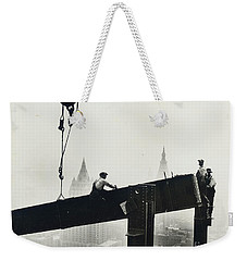 Building The Empire State Building Weekender Tote Bag by LW Hine