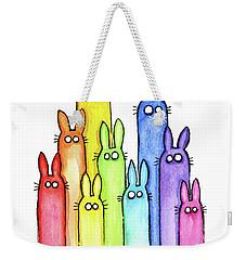 Bunny Rabbits Watercolor Rainbow Weekender Tote Bag by Olga Shvartsur
