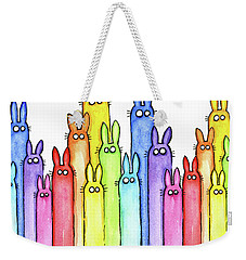 Bunny Rainbow Pattern Weekender Tote Bag by Olga Shvartsur