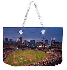 Busch Stadium St. Louis Cardinals Ball Park Village Twilight #3c Weekender Tote Bag by David Haskett
